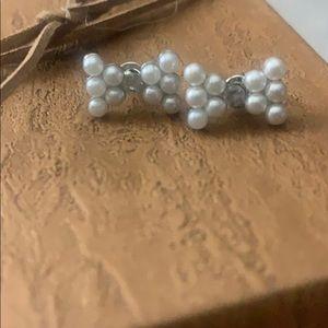 Faux pearl bow tie stud earrings
